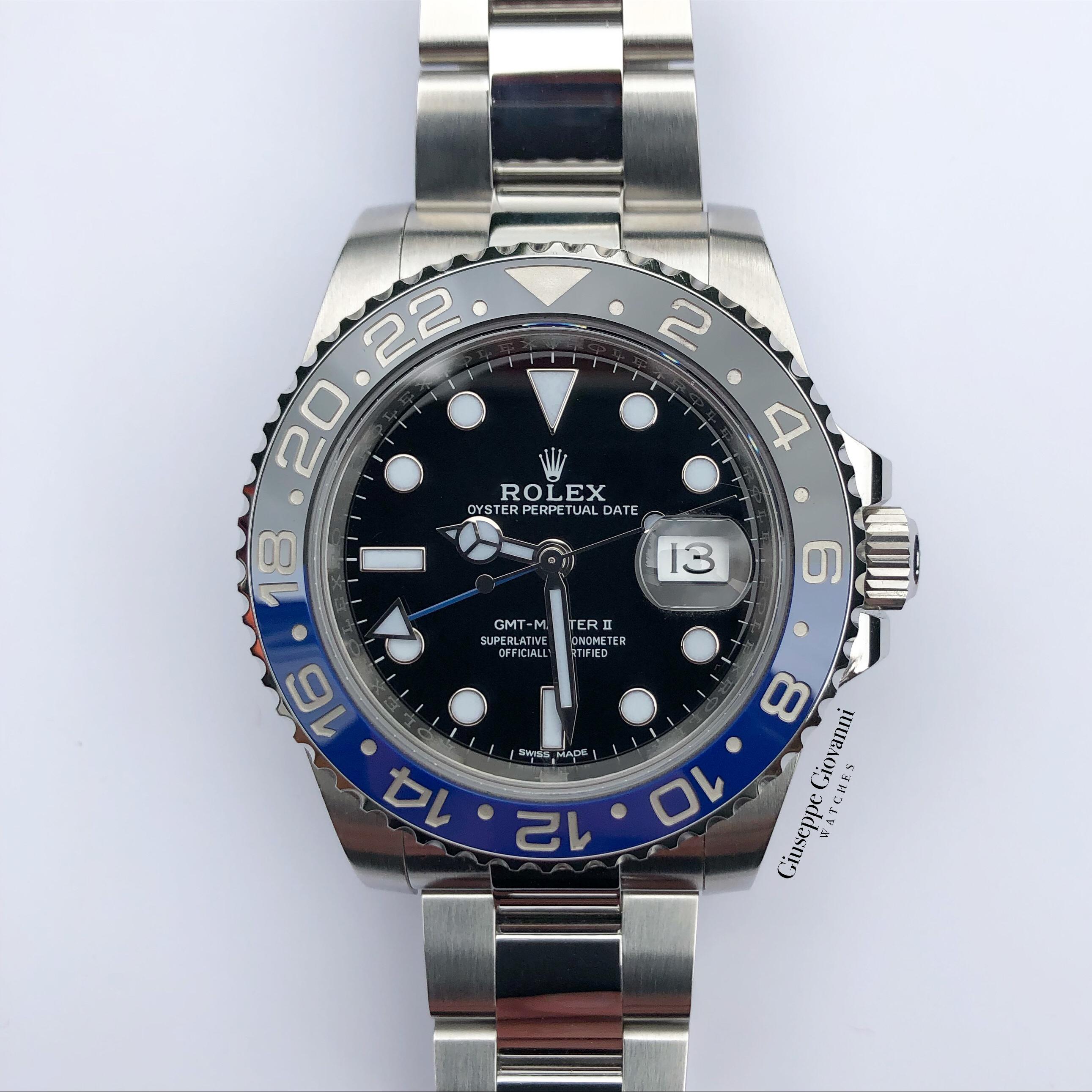 2 Rolex GMT 116710BLNR Oystersteel Black Dial Oyster Bracelet Batman