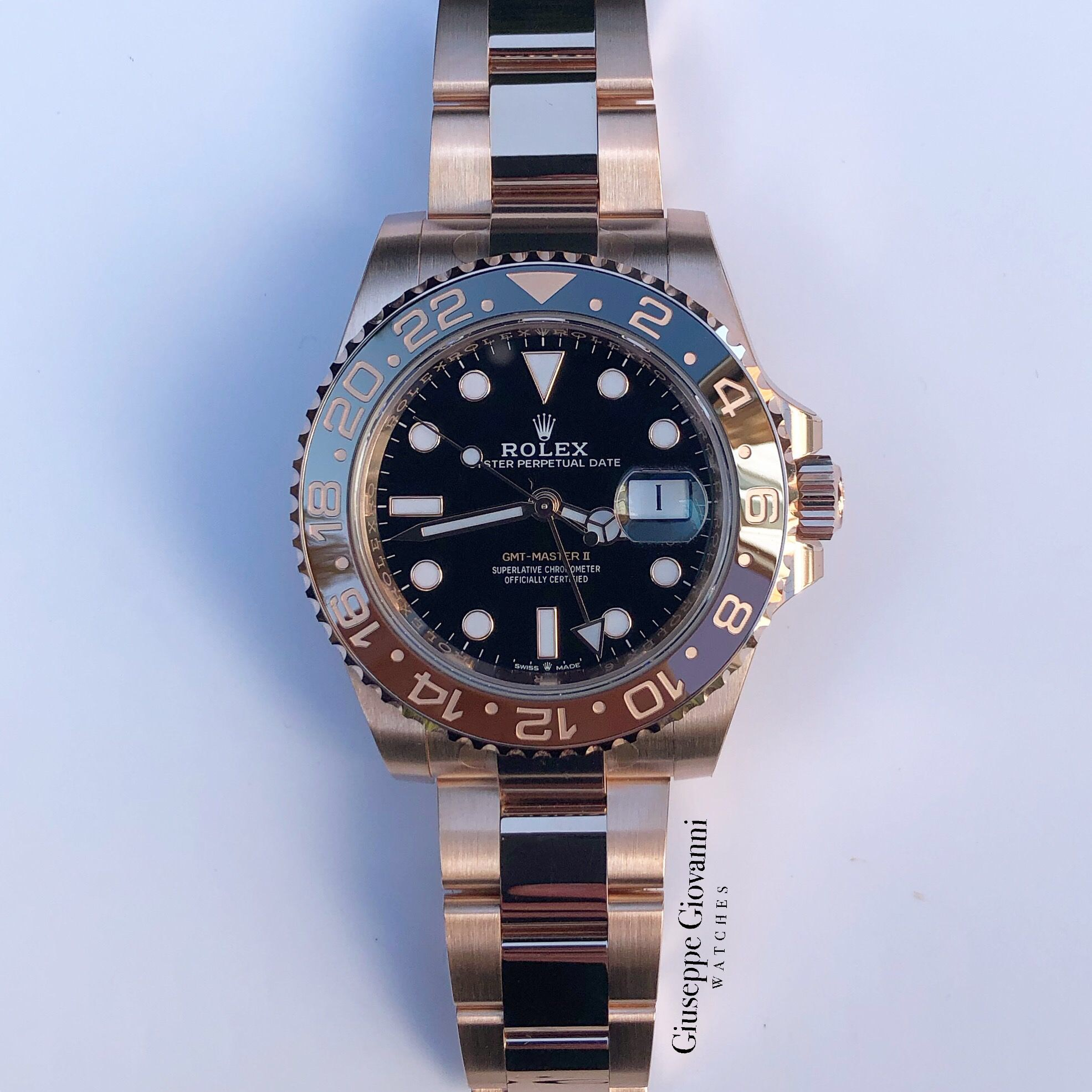 Rolex GMT 126715CHNR Everose Gold Oyster Bracelet Black Dial 2019 11