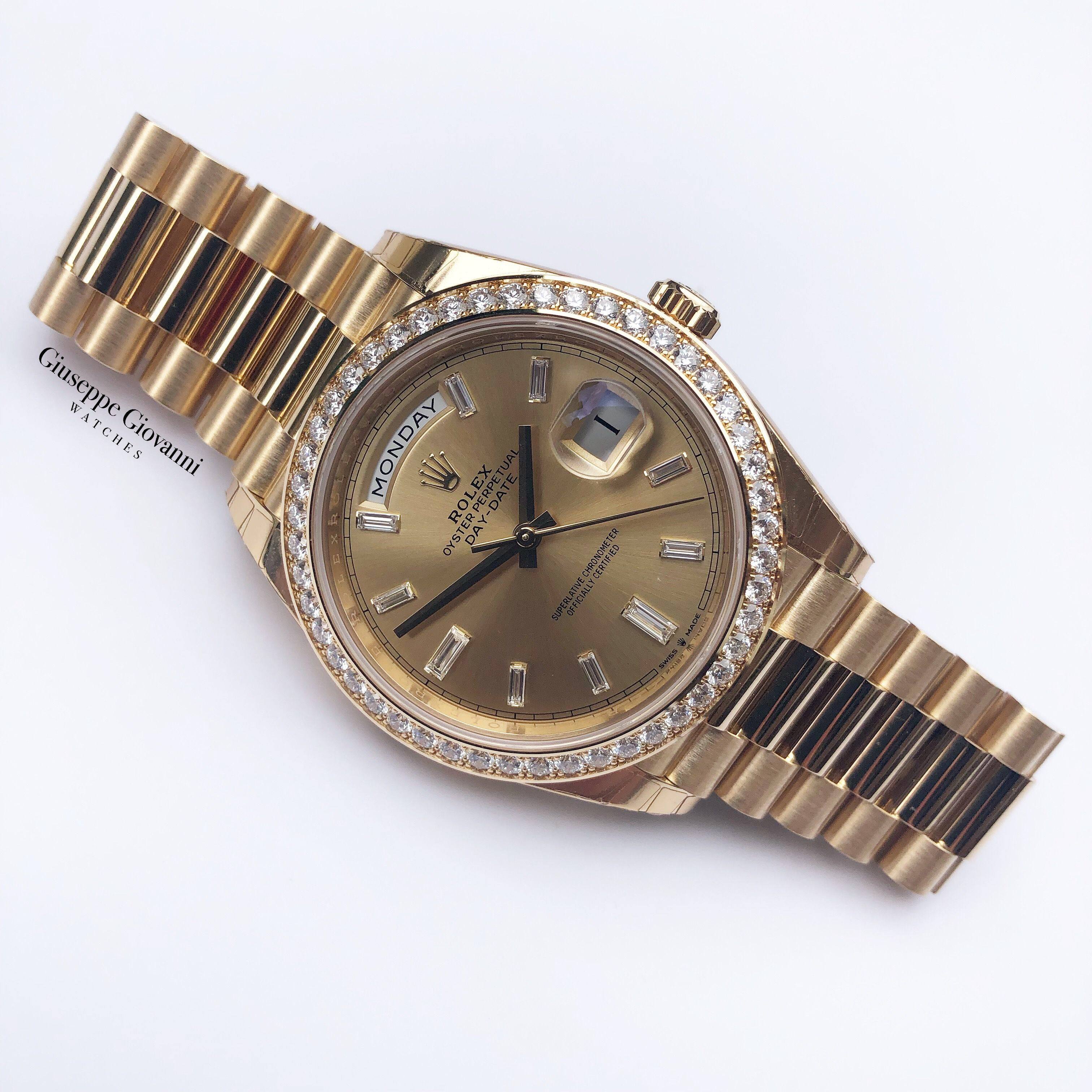 1 Rolex Day Date 40 228238RBR Yellow Gold Diamond Dial Roman Numeral President Bracelet 2019