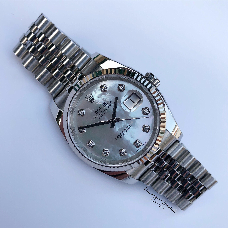 1 Rolex Date Just 36 126234 Oystersteel MOP Diamond Dial Jubilee Bracelet