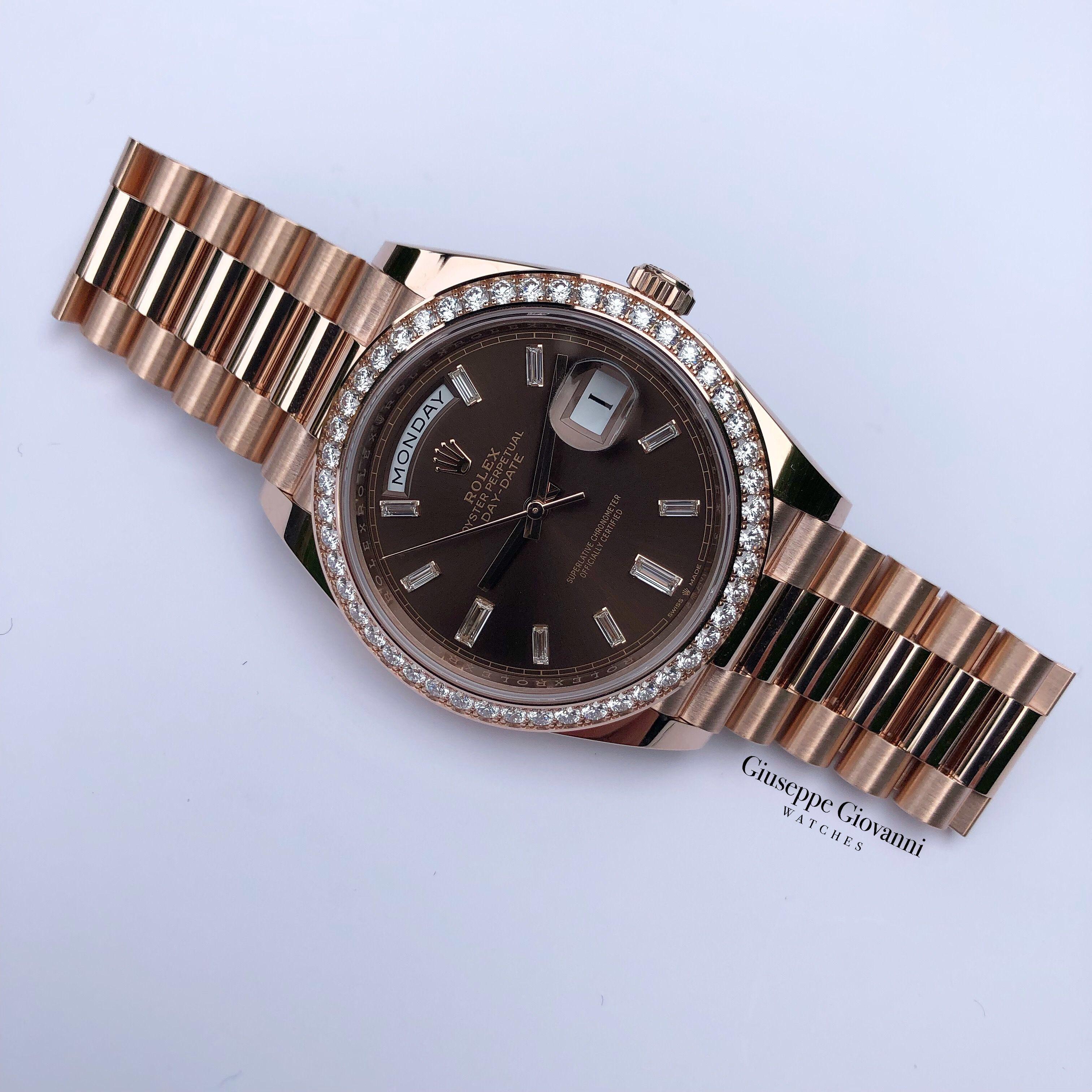 Rolex Day Date 40 228345RBR Rose Gold Diamond Chocolate Diamond Dial President Bracelet 2019