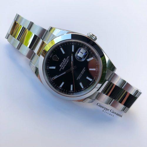 1 Rolex Date Just 41 126300 Oystersteel Black Baton Dial Oyster Bracelet 2020