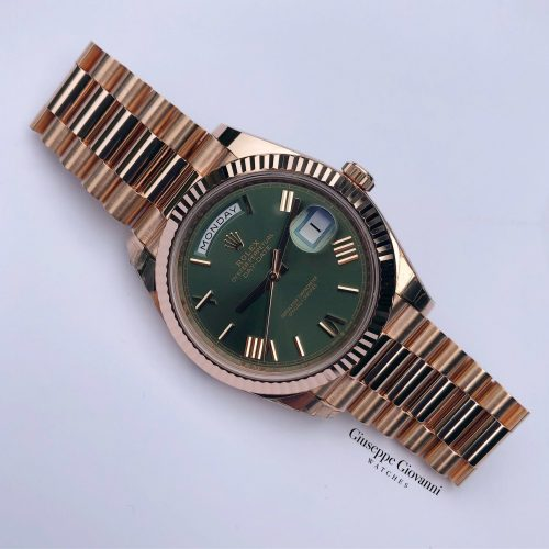 Rolex Day Date 40 228235 Rose Gold Olive Dial President Bracelet Anniversary 2019