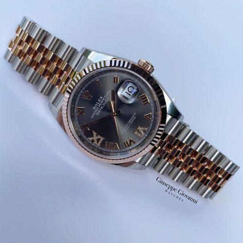 1 Rolex Date Just 36 126231 Everose Gold Oystersteel Oyster Bracelet Rhodium Diamond Dial 2020