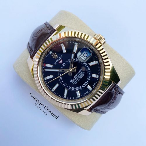 1 Rolex SkyDweller 326138 Yellow Gold Black Dial Leather Bracelet 2020