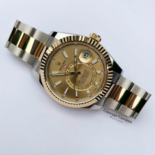 1 Rolex SkyDweller 326933 Yellow Gold Oystersteel Champagne Dial 2017
