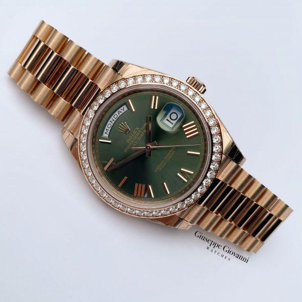 1 Rolex Day Date 40 228345RBR Rose Gold Olive Dial President Bracelet Anniversary Diamond 2020
